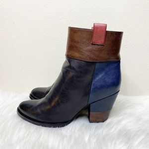French Blu Ankle Zip Heels Boots Leather 40